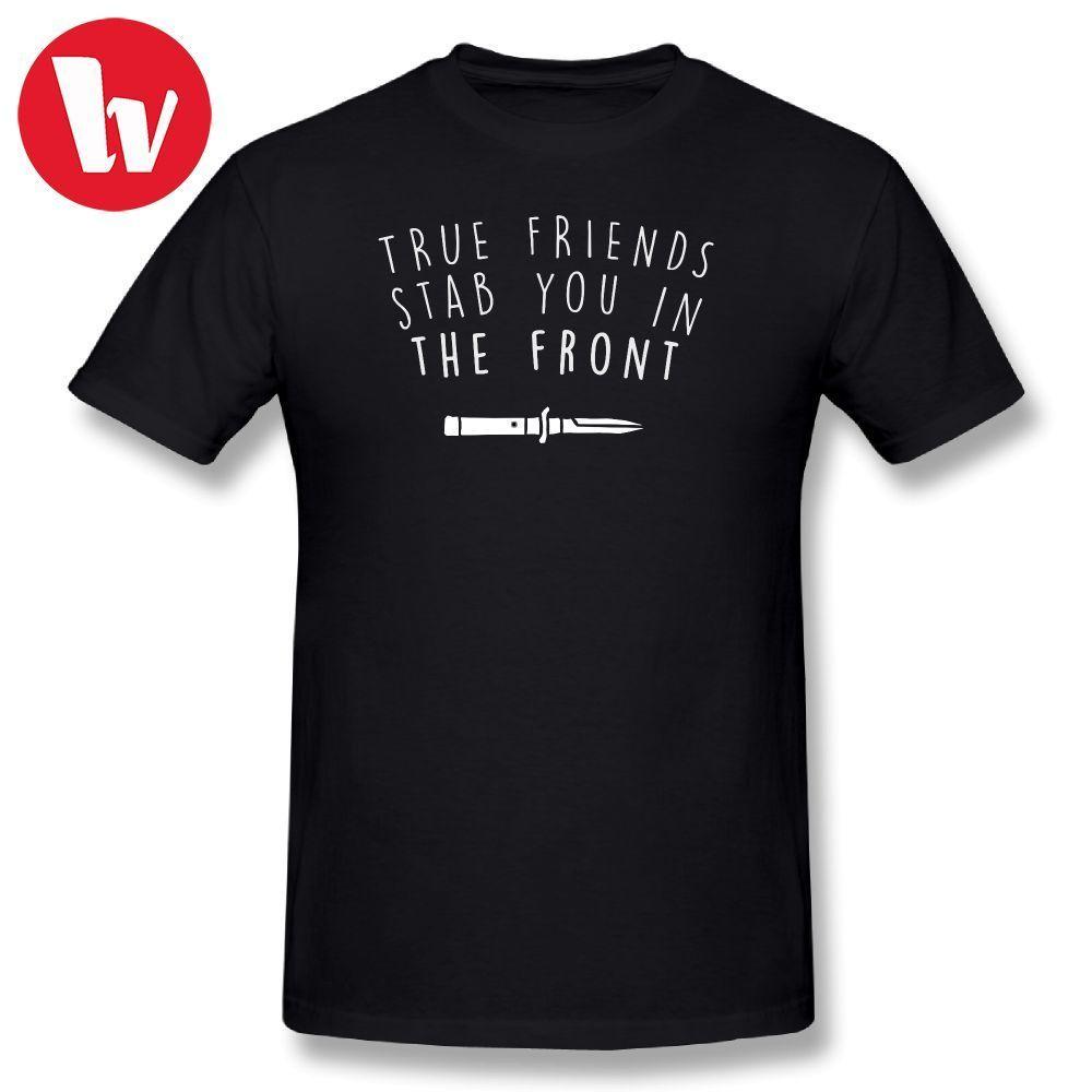 Bmth T-Shirt Da Uomo Bring Me The Horizon T Camicia Vero Amici Stab È Nella Parte Anteriore Classic Tee Shirt In Cotone grafici Maglietta Maschio