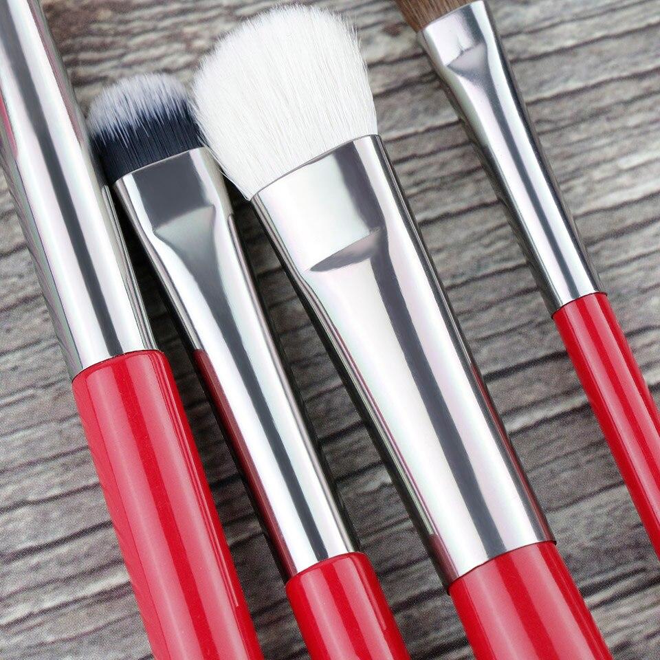 BEILI Red Eye Makeup Brush Set Goat Hair Pony hair Synthetic hair Eye shadow Blending Makeup Brush Set Professional 4