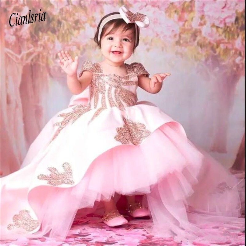 Gorgeous   Flower     Girl     Dress   With Big Bow Cute Toddler   Girls   Pageant Gowns Backless Kids Formal Wears Custom Made For Birthday