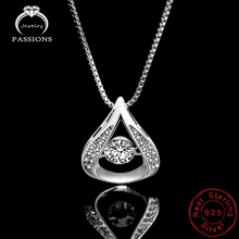 Newest Fashion 925 Sterling Silver Pendant Necklace AAA Cubic Zirconia Water Drop Necklaces & Pendants For Women's Jewelry Gift
