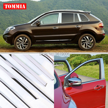 TOMMIA Full Window Middle Pillar Molding Sill Trim Chromium Styling Strips Stainless Steel For Renault Koleos 2009-2016