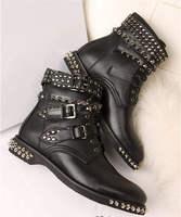Новая Мода Бесплатная Доставка Новая Мода Заклепки Три Пряжки Пять Крест пряжки Леди Ботильоны Для Женщин Черная Кожа Голая обувь
