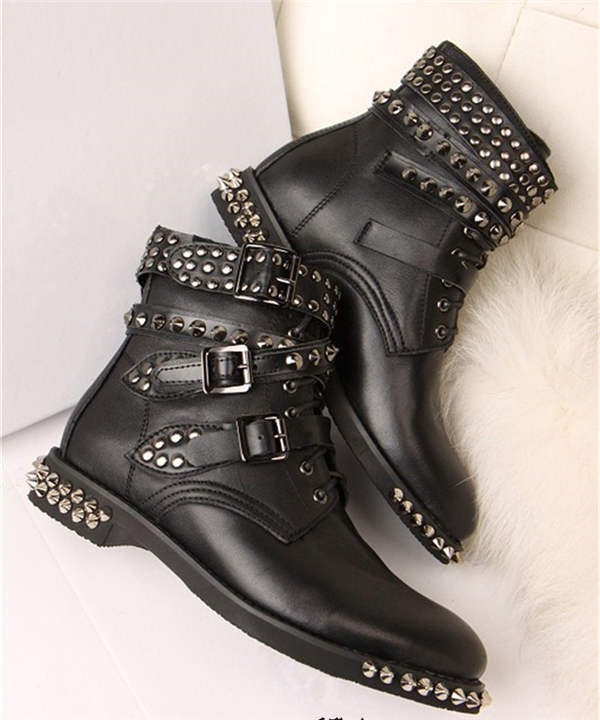New Fashion Free Shipping New Fashion Rivets Three Buckle Five Buckle Cross Lady Ankle Boots For Women Black Leather Nude ShoesNew Fashion Free Shipping New Fashion Rivets Three Buckle Five Buckle Cross Lady Ankle Boots For Women Black Leather Nude Shoes