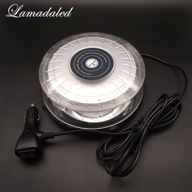 Lamadaled DC12V24V red blue 18cm round automobile roof led strobe lights beacon car vehicle Emergency led flash warning lamp rechargeable car road safety led warning lights emergency light car roof warning beacon install by magnetic 9 flash waterproof
