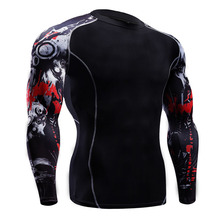2017 New Fitness MMA Compression Shirt Men Anime Bodybuilding Long Sleeve 3D T Shirt Crossfit Tops Shirts