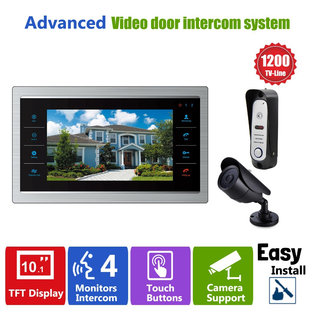 Homefong 10 inch Video Door Phone Smart Video Doorbell with Camera Intercom CCTV  HD 1200TVL LCD Screen Display Door Monitor xsl v70f m4 smart video door phone intercom hd 7 inch display