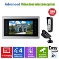 Ysecu 10 дюймов видео-телефон двери смарт-чехол видео-дверной звонок с домофон камеры видеонаблюдения HD 1200TVL большой жк-дисплей монитор