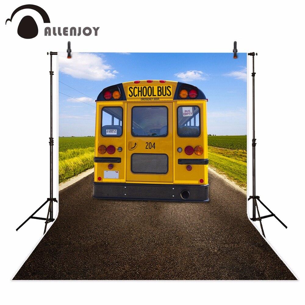 Allenjoy School Bus Photography Backdrop Highway Student