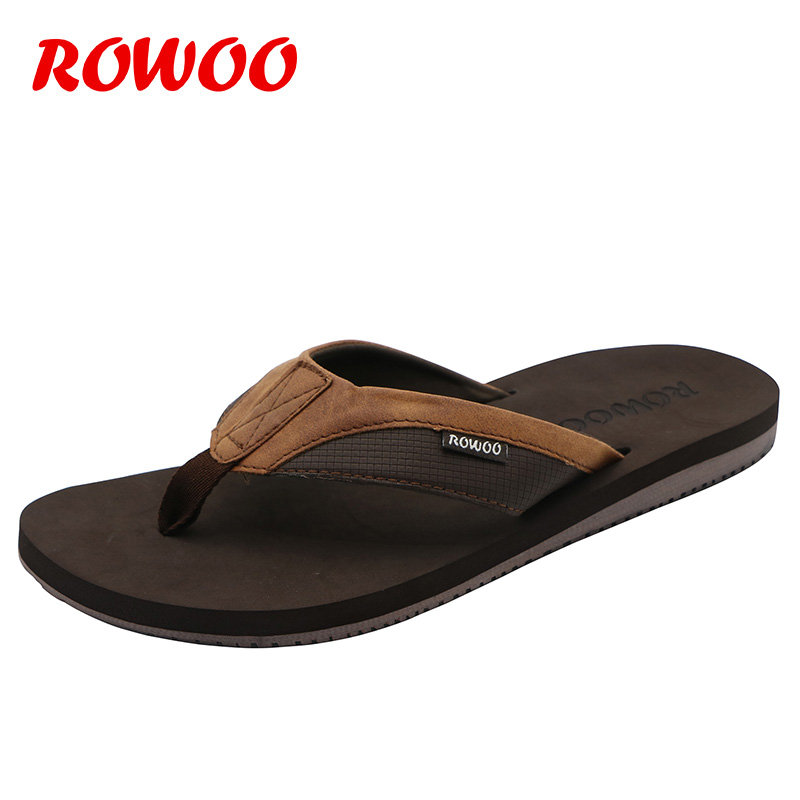 PU Leather Slippers Men Beach Flip Flops Breathable Fashion Summer Shoes Causal Sandals Indoor Male Footwear Retro Wholesale