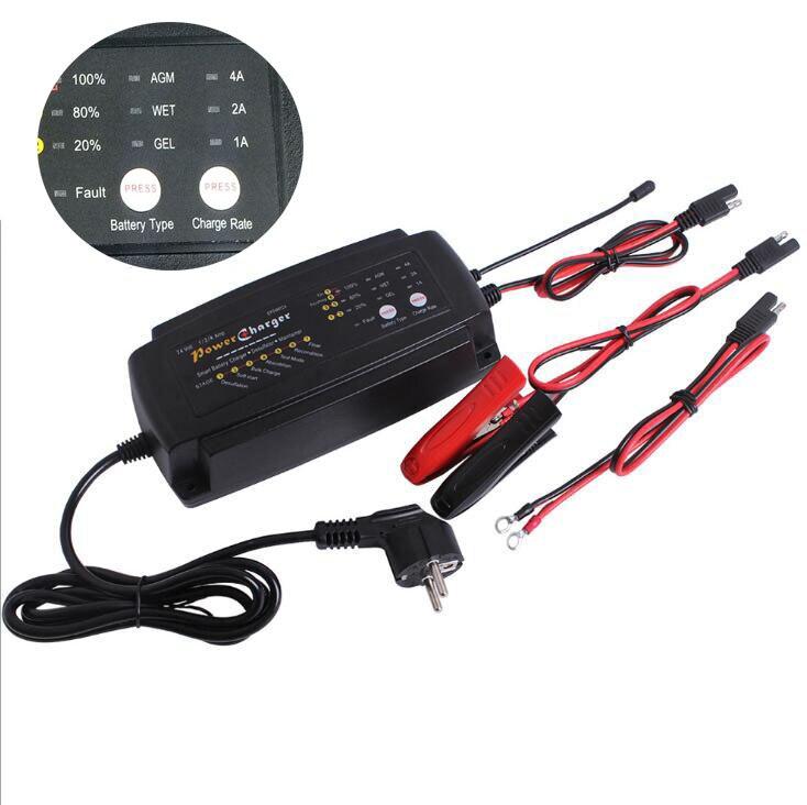Многофункциональный 24 В 1A 2A 4A 3 в 1 Ebike скутер автомобиля Батарея Зарядное устройство 7-Stage сопровождающий и Desulfator для AGM гель мокрый батареи