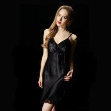 Ladies Sexy 100% Real Silk Night Dress Halter Lacing Nighties V-neck Nightgown Spaghetti Strap Sleepwear Sleepshirts For Women