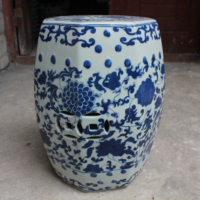 Jingdezhen Antique Home Porcelain Garden Stool High Temperatured Glazed 1  Piece Chinese Blue And White Ceramic