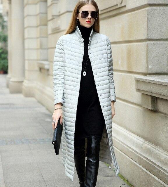 Новинка 2017 года настоящие Женские Белые парки с гусиным пухом женские длинные Пуховое пальто, куртка Зимние теплые пальто на кнопках Парки