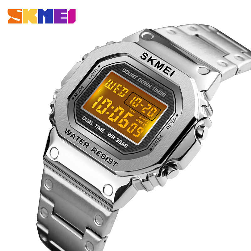 Reloj Digital cronógrafo cuenta atrás para hombre reloj de pulsera deportivo al aire libre de moda para hombre reloj despertador impermeable marca SKMEI