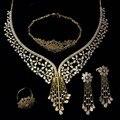 Новый Женский свадебный Ювелирные Наборы золото с гальваническим покрытием Кубического Циркония 4 шт. наборы (ожерелье + браслет + серьги + кольцо) бесплатная отправка