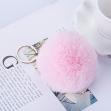 2017 New Arrival Fashion Rabbit Fur Ball Sharp Women Key chains For Bag
