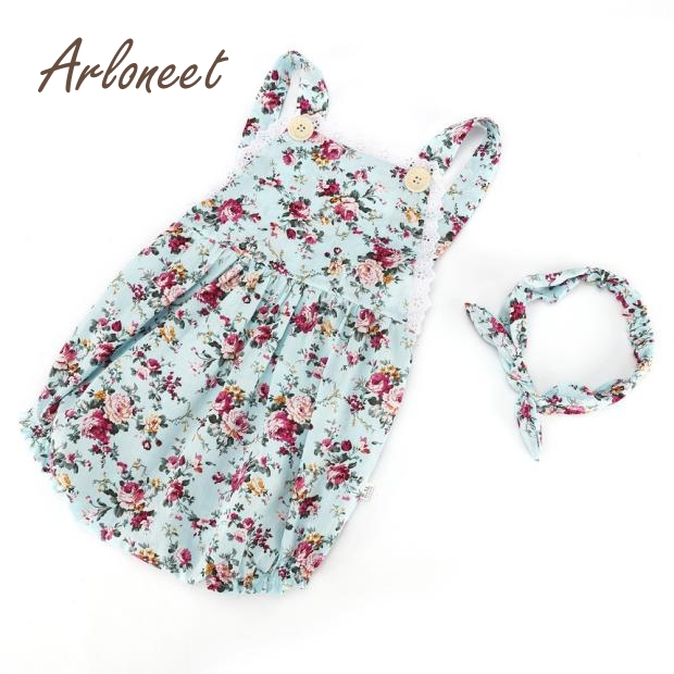 ARLONEET Baby Girls Clothes Sets Cute Baby Girls Floral Ruffles Romper Birthday Party Outfits Jumpsuit E30 Jan11