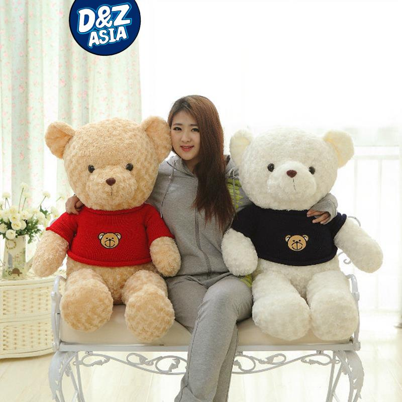 Cashmere sweater dress cute rose Teddy bear couple bear plush <font><b>dolls</b></font> birthday gift valentine's day present image