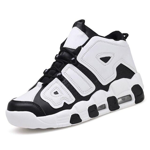 Спортивная обувь для мужчин Лидер продаж черные белые модные Баскетбол с высоким берцем на толстой подошве анти-скользкие комфорт кроссовки