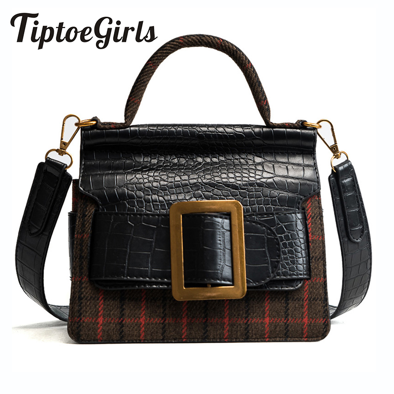 The New Wave of Korean Version of the Retro Handbag Ms. Atmospheric Fashion Wild Crocodile Pattern Plaid Messenger Bag ms new wave korean version of the joker laptop shoulder bag the first layer ms leather messenger bag zipper leather handbag