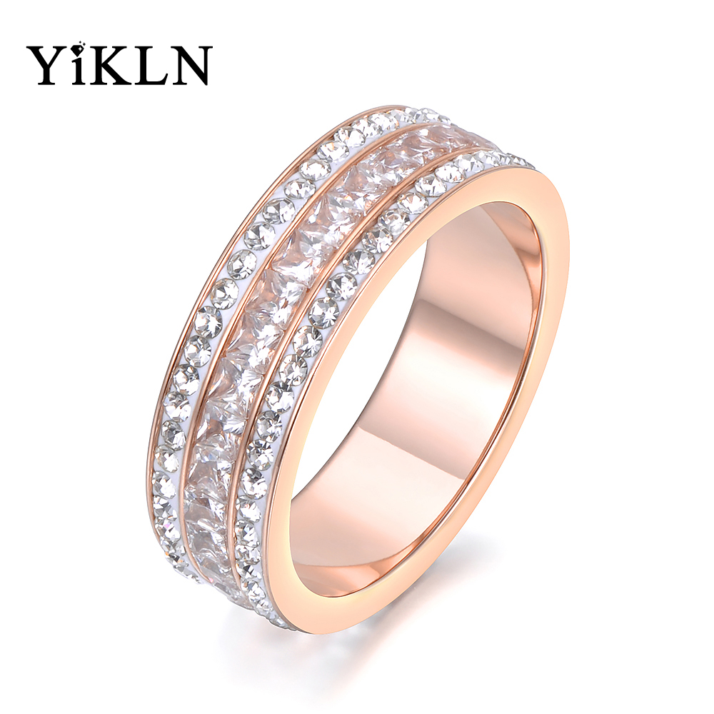 Yikln Fashion Jewelry Rose Gold Color 3 Rows Cz Ring White Clay Crystals & Aaa Zircon Stainless Steel Ring 6mm Width Yr18132 Jewelry & Accessories