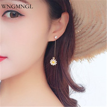 WNGMNGL 2018 Fashion Female Earrings Korean Simple Design Long Statement Crystal Flower Drop For Women Jewelry Gift