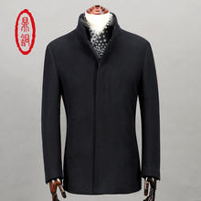 DINGTONG Men's Thick Padded Wool Coat Stand Up Fur Collar Jacket Single Breasted Winter Warm Lined Black Slim Fit Trench Coat
