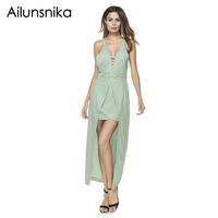 Ailunsnika Summer Women Sexy Backless V-neck Maxi Dress Cross Back Irregular Long Dress Lace Up Casual Party Maxi Dress Robes