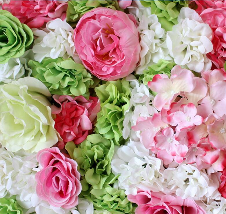 60x40cm Artificial silk flower Panels Roses Peonies hydrangea floral backdrop for wedding party flower wall decoration in Artificial Dried Flowers from Home Garden