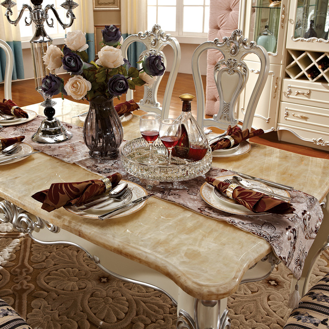 European Style Dining Natural Marble Table Carved Wood French Garden Rectangular Dining Table
