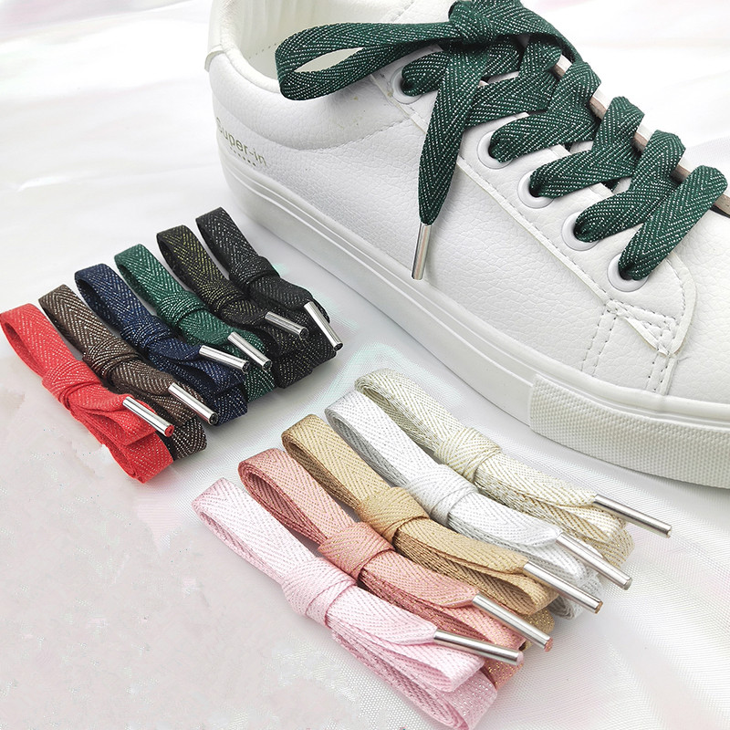 Herringbone Pattern Polyester Cotton Solid Color Shining Shoelaces Women Men Colorful Leather Sports Casual Shoes Laces Dropship