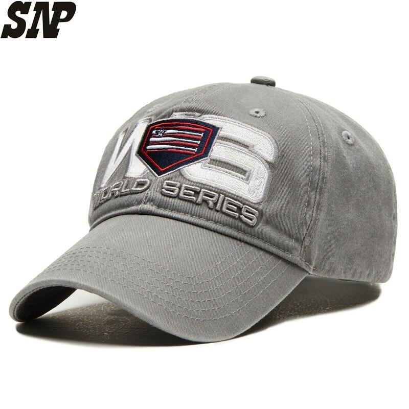 baseball World series bones Snapback  baseball cap for men dad hat Pure cotton washing process Adjustable size 56-60CM