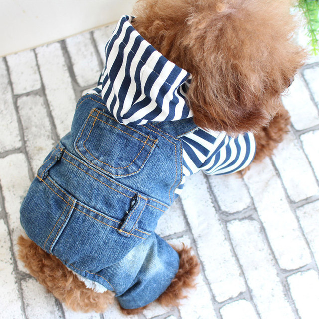2017 Spring And Summer Teddy Bichon Dog Pet Clothes Cowboy Leotard Striped Four Legs Jeans Dog Clothes