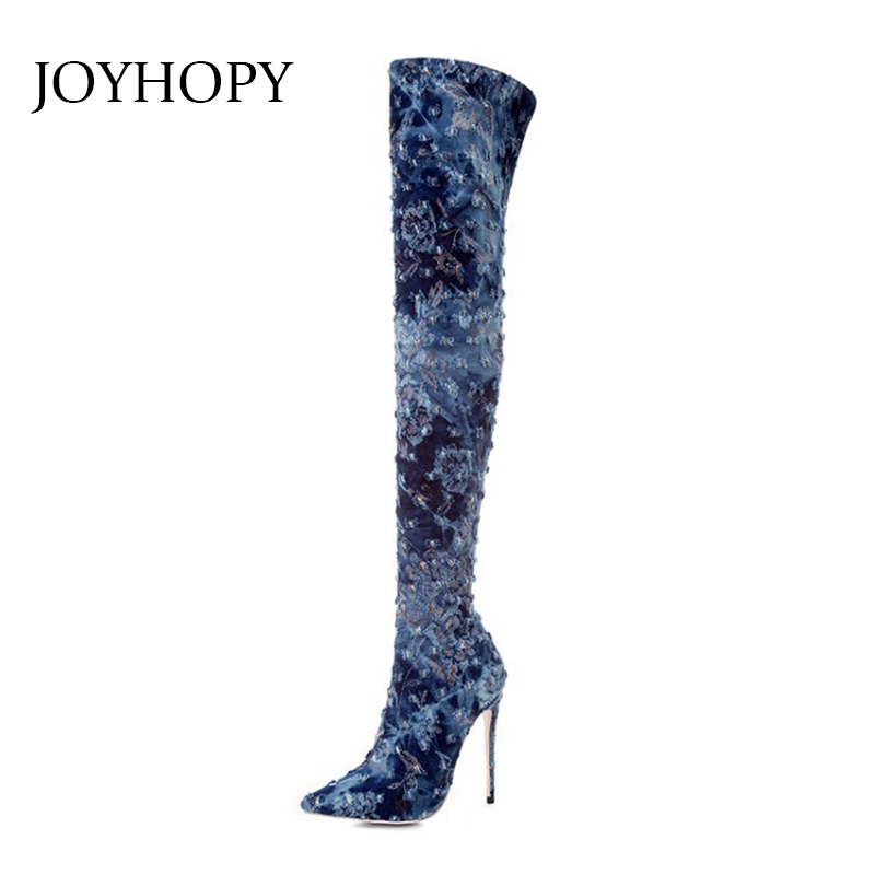 Winter Women Broken Hole Denim Over The Knee Boots Sexy Woman Stretch Fabric High Heel Thigh High Boots Pointed Toe Shoes WB1405 chic buttoned high waist broken hole jeans for women