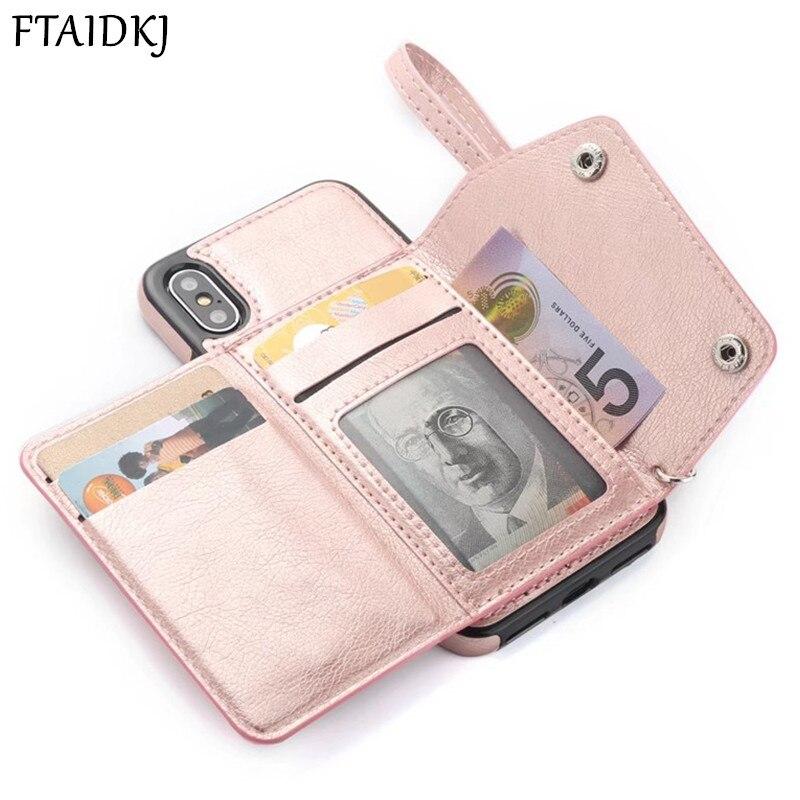 PU Leder Brieftasche Flip Card Slot Fall Für iPhone 7 6 6 s 8 Plus 10 X XS Max XR zurück Abdeckung Für Samsung Note 8 9 S8 S9 Plus S7 Rand