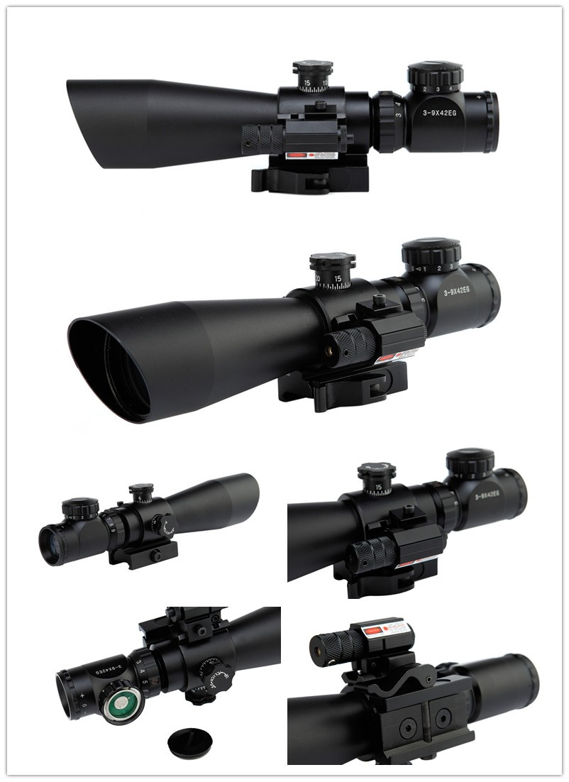 3-9x42 EG Hunting Rifle Scope + Red Laser Sight / Tactical Airosft R/ Green Dot Illuminated Telescopic Riflescope With Red Laser tactical qd riflescope 3 9x42eg laser sight hunting rifle scope red green dot illuminated telescopic sight riflescopes