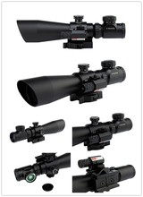 Wholesale 3-9×42 EG Hunting Rifle Scope + Red Laser Sight / Tactical Airosft R/ Green Dot Illuminated Telescopic Riflescope With Red Laser