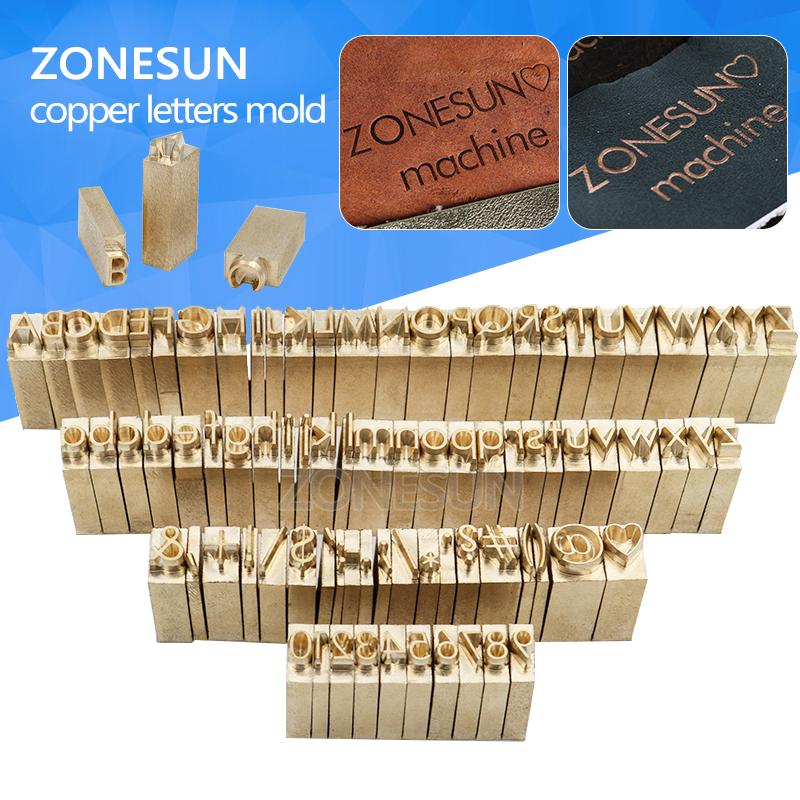 ZONESUN Custom brass Leather stamp DIY Metal Alphabet Letters numbers symbol Stamps for stamping Craving Tool Brand iron Mold alphabet letters design silicon stamps scrapbooking stamp for kids diy paper card wedding gift christmas gift poto album rz 032