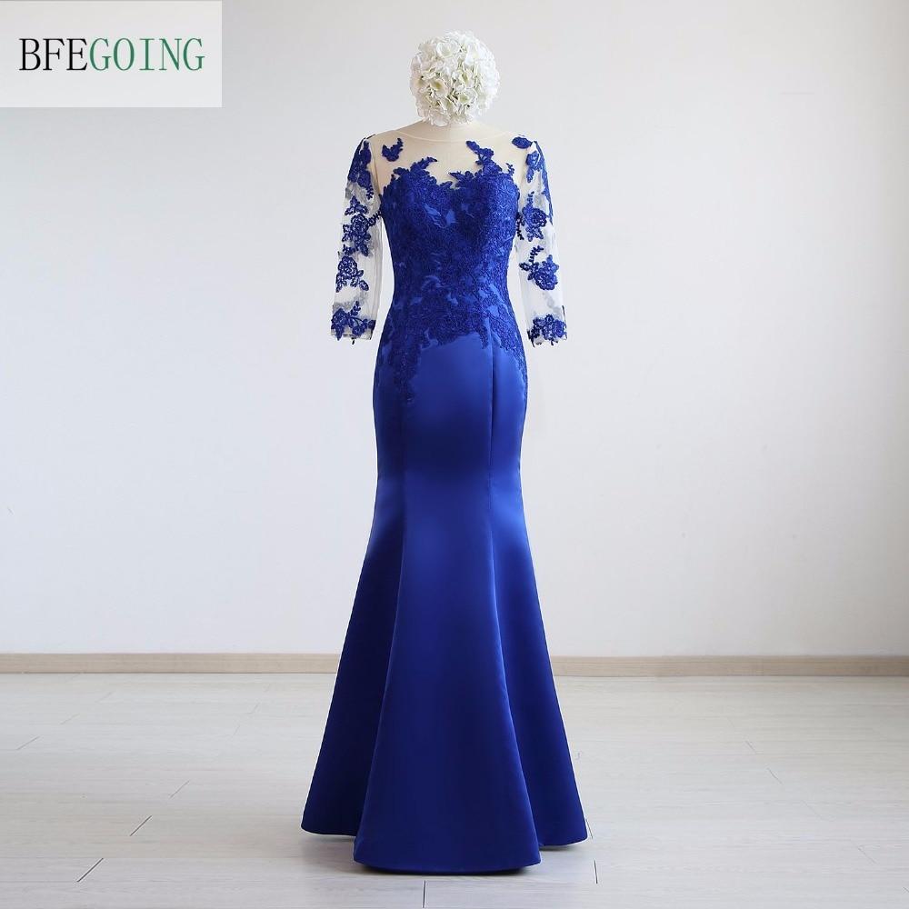 Blue Satin Applique Mermaid Trumpet Formal Evening Dress Floor Length 3 4 Sleeves Real Original Photos