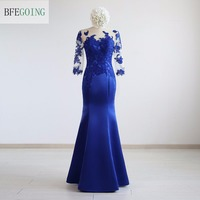 Blue Satin Applique Mermaid Trumpet Formal Evening Dress Floor Length 3 4 Sleeves Real Original Photos