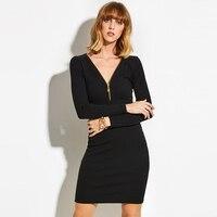 Sisjuly Women Autumn Sweater Dress Girls Long Sleeve Zipper V Neck Knee Length Black Dresses Girls