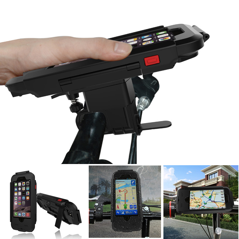 Waterproof Bicycle Bike Phone Holder for iPhone 5 5s SE 6 6s Motorcycle Handlebar Mount Bracket Hard Case
