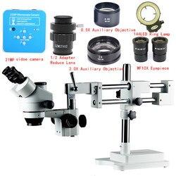 21MP mikroskop Stereo 3.5X-90X podwójne Boom Stand Zoom Simul ogniskowej Trinocular Stereo kamery mikroskopu dla PCB przemysłowe naprawy