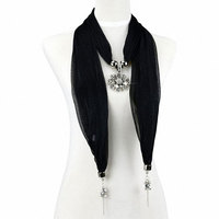 Crystal Stone Flower Pendant Scarf With Two Ending Jewelry Total 12 Colors Solid Scarf NL 2022