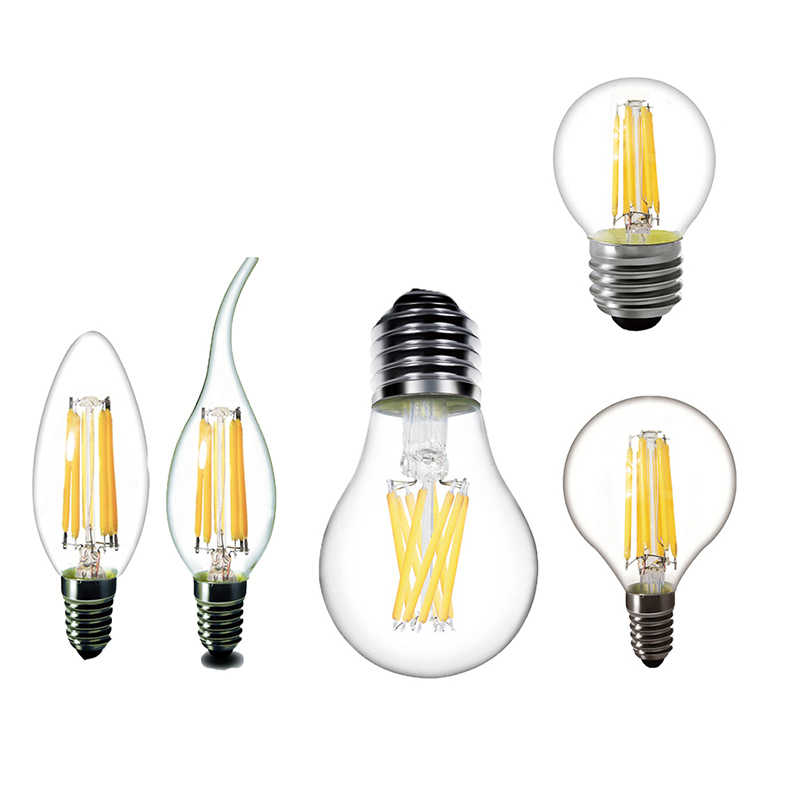 220V E27 LED Bulb E14 LED Filament Bulb E27 LED Candle Bulb Light E14 Edison Light 2W 4W 6W 8W Glass Replace Incandescent