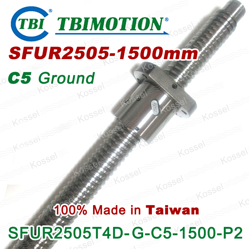 Hot Sale BallScrew assembly  SFU2505 -1500mm ball screw SFU2505 ball nuts and end machined for high stability linear CNC diy kit tbi dfi 2505 600mm ball screw milled ballscrew and end machined for high stability linear cnc diy kit