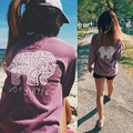 GZDL New Hot Sale Autumn Spring Casual Women's Long Sleeve T-shirt Printed Elephant Pattern Loose Pocket Tops Tee Shirt CL2428