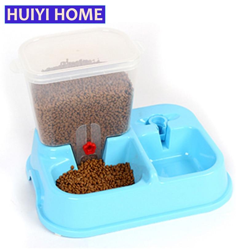 Huiyi inicio grande ajustable alimentador automático de mascotas bebederos perro dispensador de agua para Perros Gatos plato eni013