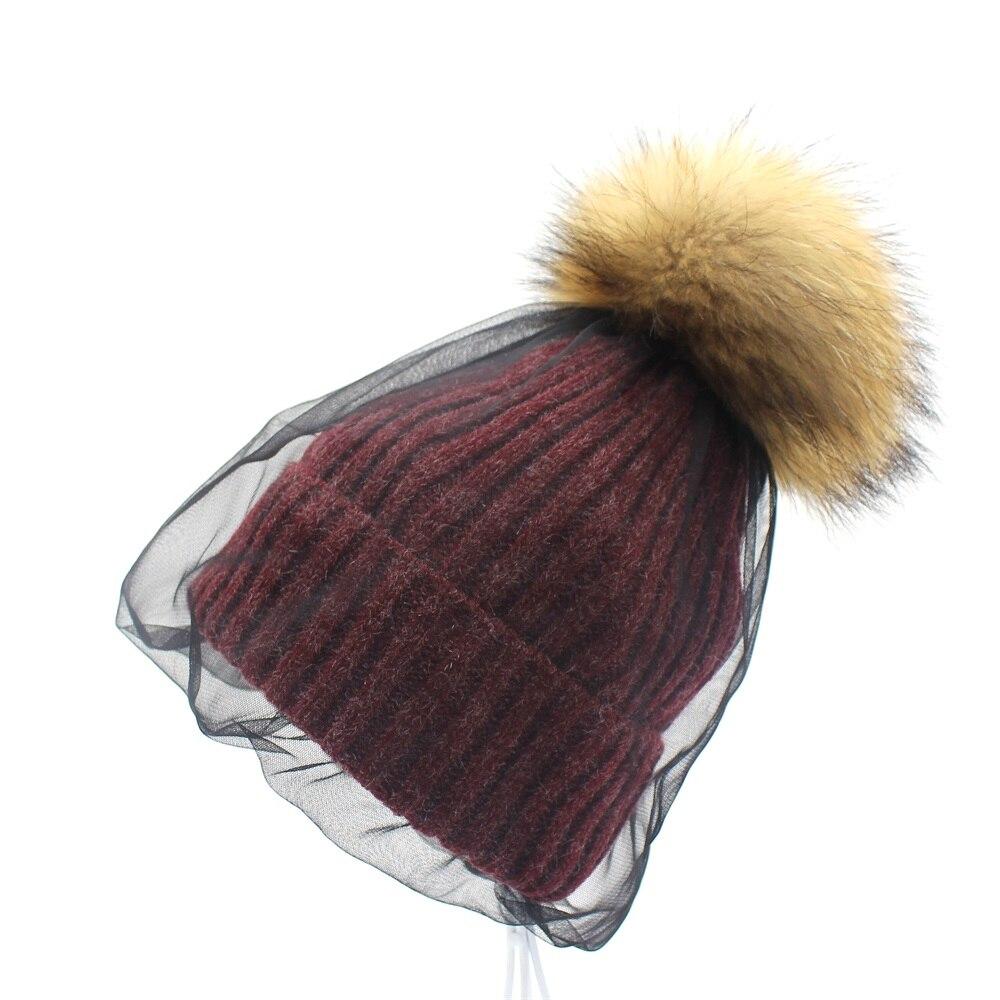 Lanxxy Real Mink Fur Pompom Hat Women Girls Winter Beanies Skullies Fashion Veil Mesh Style Hats for Women Female Cap
