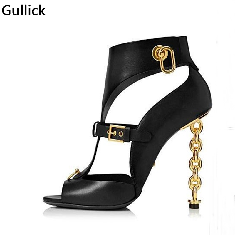 Sexy Hollow Out Golden Chian Heels Woman Sandal Metal Buckle Ring Decoration Cool Room Style Woman Party Dress Shoe Big SizeSexy Hollow Out Golden Chian Heels Woman Sandal Metal Buckle Ring Decoration Cool Room Style Woman Party Dress Shoe Big Size